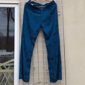 Silk teal pants